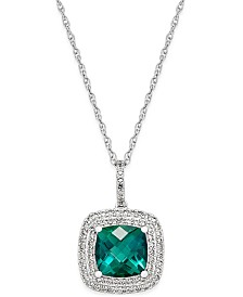 Lab-Created Emerald (1-1/2 ct. t.w.) and White Sapphire (1/3 ct. t.w.) Pendant Necklace in Sterling Silver