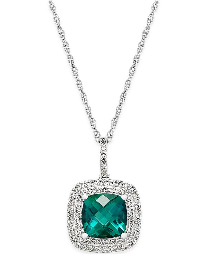 Macy's - Lab-Created Emerald (1-1/2 ct. t.w.) and White Sapphire (1/3 ct. t.w.) Pendant Necklace in Sterling Silver