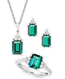 Lab-Created Emerald (4 ct. t.w.) and White Sapphire (3/8 ct. t.w.) Jewelry Set in Sterling Silver