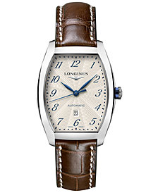 Longines Women's Swiss Automatic Evidenza Brown Leather Strap Watch 31x36mm L23424734