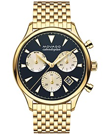 Men's Swiss Chronograph Heritage Gold-Tone Stainless Steel Bracelet Watch 43mm 3650015