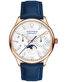 Women's Swiss Heritage Celestograf Navy Leather Strap Watch 36mm 3650011