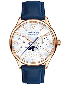 Movado Women's Swiss Heritage Celestograf Navy Leather Strap Watch 36mm 3650011