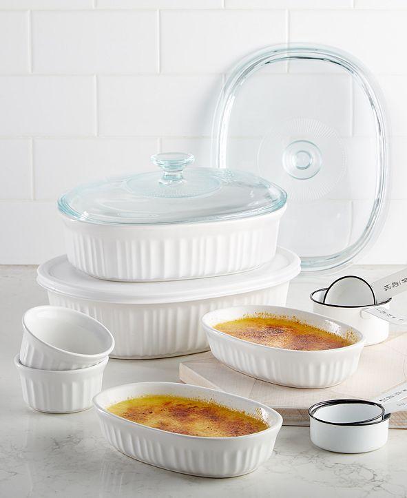 Corningware French White 10-Pc. Bakeware Set, Created for Macy's