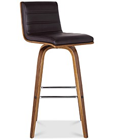 "Vienna 26"" Counter Height Barstool in Walnut Wood Finish with Grey Faux Leather"