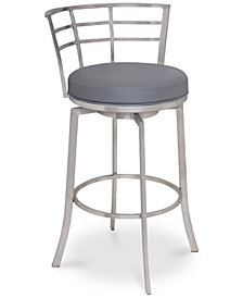 "Viper 26"" Counter Height Swivel Barstool in Brushed Stainless Steel finish with Black Faux Leather"