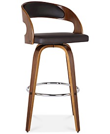 "Shelly 26"" Counter Height Barstool in Walnut Wood Finish with Brown PU"