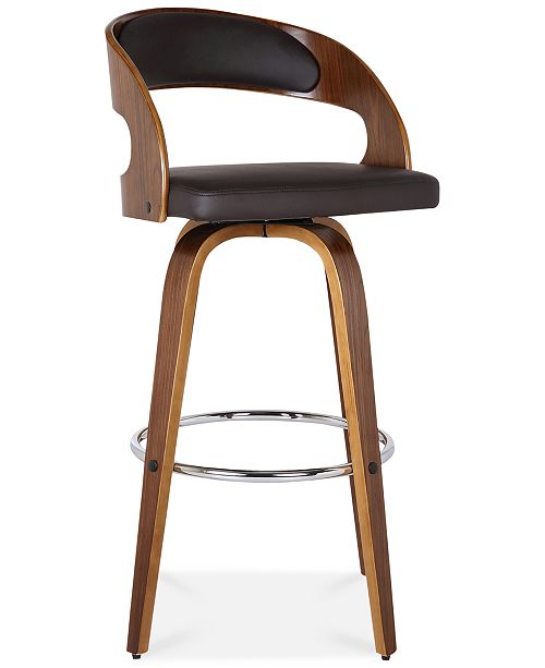 Strange Shelly 26 Counter Height Barstool In Walnut Wood Finish With Brown Pu Lamtechconsult Wood Chair Design Ideas Lamtechconsultcom