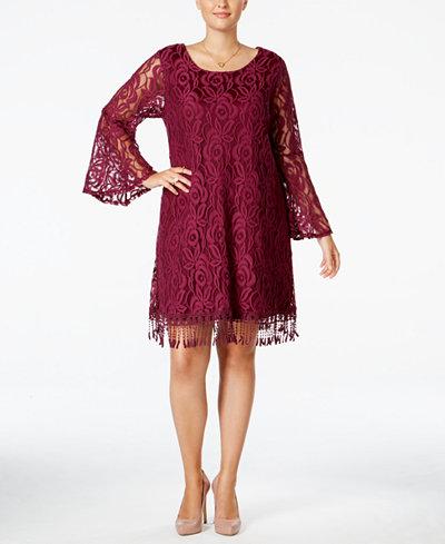 ING Plus Size Lace Fringe-Trim Dress - Dresses - Plus ...
