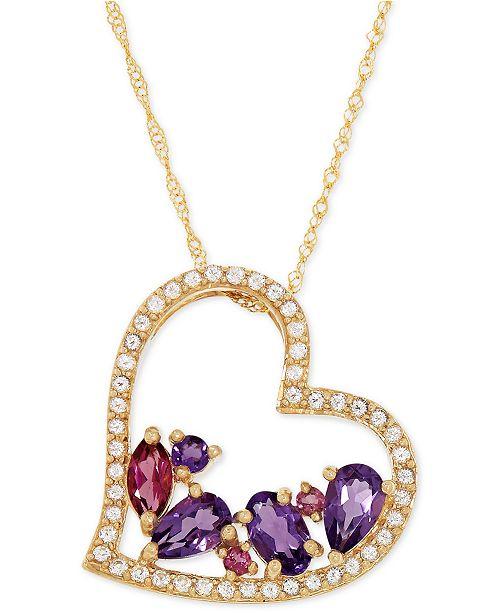 Bronzarte Multi-Gemstone Heart Pendant Necklace (1 ct. t.w.) in 14k Gold