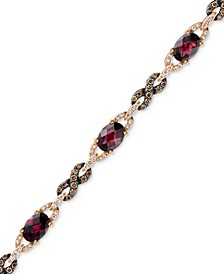 Raspberry Rhodolite® Garnet (5-5/8 ct. t.w.) and Diamond (1 ct. t.w.) Link Bracelet in 14k Rose Gold