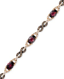 Le Vian® Raspberry Rhodolite® Garnet (5-5/8 ct. t.w.) and Diamond (1 ct. t.w.) Link Bracelet in 14k Rose Gold