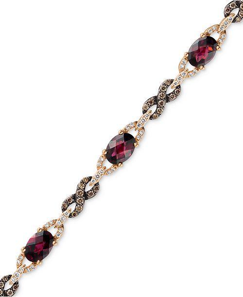 Le Vian Raspberry Rhodolite® Garnet (5-5/8 ct. t.w.) and Diamond (1 ct. t.w.) Link Bracelet in 14k Rose Gold