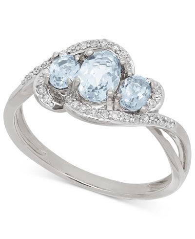 Aquamarine (3/4 ct. t.w.) and Diamond (1/8 ct. t.w.) Three Stone Ring in 14k White Gold