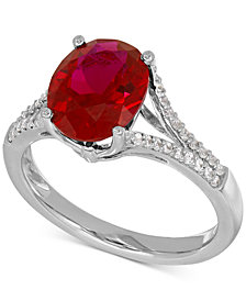 Lab-Created Ruby (3-5/8 ct. t.w.) and White Sapphire (1/5 ct. t.w.) Ring in Sterling Silver