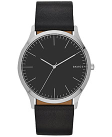 Skagen Men's Black Leather Strap Watch 41mm SKW6329