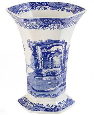 Spode Dinnerware Blue Italian Hexagonal Vase Serveware Dining