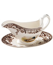 """Woodland"" Turkey Gravy Boat & Stand"