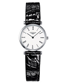 Longines Women's La Grande Classique Black Alligator Strap Watch L42094112