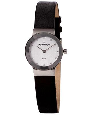 8ddd529a6730e Skagen Women s Freja Black Leather Strap Watch 22mm 358XSSLBC - Watches -  Jewelry   Watches - Macy s