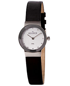 Skagen Women's Black Leather Strap Watch 22mm 358XSSLBC