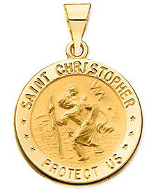 14k Gold Necklace, Saint Christopher Medal Pendant