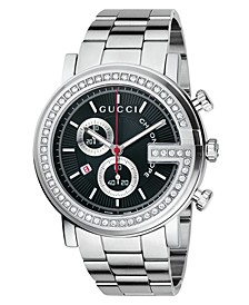 Watch, Unisex G Chrono Collection Stainless Steel Diamond Bezel Bracelet (3/4 ct. t.w.) 44mm YA101324