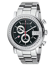 Gucci Watch, Unisex G Chrono Collection Stainless Steel Diamond Bezel Bracelet (3/4 ct. t.w.) 44mm YA101324