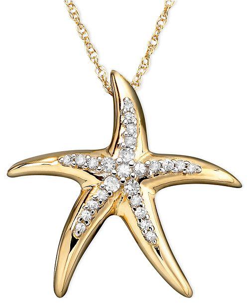 Diamond Starfish Pendant Necklace