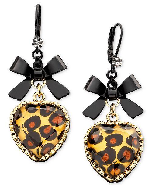 Betsey Johnson Leopard Heart Bow Drop Earrings - Fashion ...
