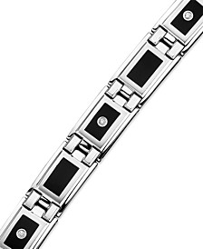 Men's Stainless Steel and Black Enamel Diamond Bracelet (1/8 ct. t.w.)