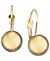 10k Gold Earrings, Ball Leverback