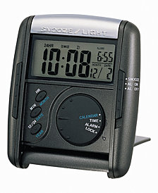 Seiko Black Digital Travel Alarm Clock QHL004KLH