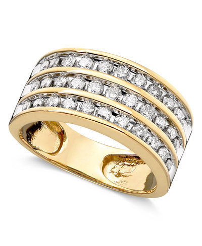 Three-Row Diamond Ring (1 ct. t.w.) in 14k Gold or White Gold