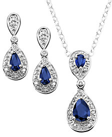 Sterling Silver Pendant and Earrings, Sapphire (1-3/8 ct. t.w.) and Diamond (1/10 ct. t.w.) Set