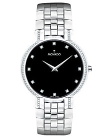 Movado Men's Swiss Diamond (3/8 ct. t.w.) Stainless Steel Bracelet Watch 38mm 0606237