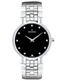 Movado Men's Swiss Diamond (3/8 ct. t.w.) Stainless Steel Bracelet Watch 38mm 0606237