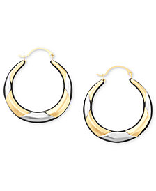 10k Two-Tone Gold Hoop Earrings