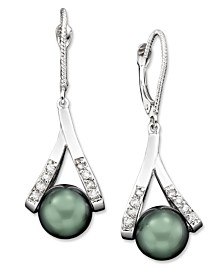 Cultured Tahitian Pearl and Diamond Accent Earrings in 14k Gold (8mm)