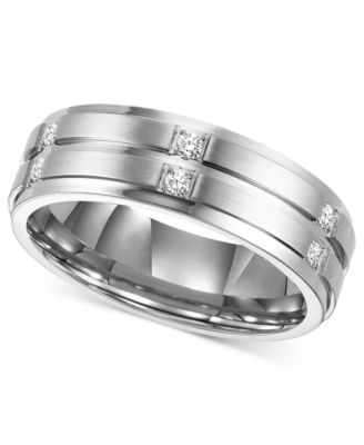 Beau Triton Menu0027s Diamond Wedding Band Ring In Stainless Steel (1/6 Ct. T.w.