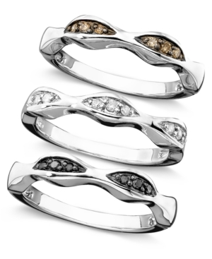 Sterling Silver Rings, Black, White and Brown Diamond Set of 3 (1/4 ct. t.w.)