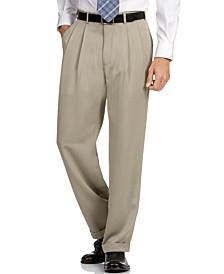 Classic Fit Double Pleat No Iron Microfiber Melange Men's Dress Pants
