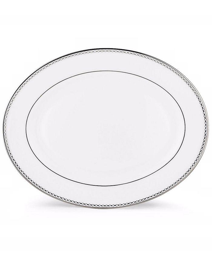 "Lenox - ""Pearl Platinum"" Oval Platter, 13"""
