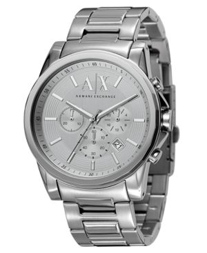 AX Armani Exchange Men's Chronograph Stainless Steel Bracelet Watch 45mm AX2058 thumbnail