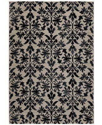 Area Rug, Taylor Collection Retro Damask Grey-Black 5' 3