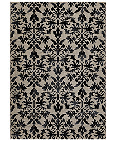 "Couristan Area Rug, Taylor Collection Retro Damask Grey-Black 5' 3"" x 7' 6"""