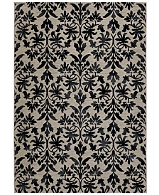"Couristan Area Rug, Taylor Collection Retro Damask Grey-Black 7' 10"" x 11' 2"""