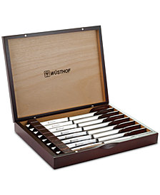 Wüsthof Stainless 8pc Steak Knife Set in Walnut Chest, Created for Macy's