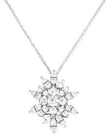 Diamond Starburst Pendant Necklace (1 ct. t.w.) in 14k White Gold, Created for Macy's