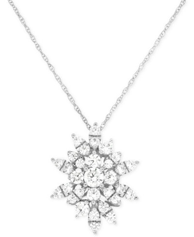Wrapped In Love Diamond Starburst Pendant Necklace (1 ct. t.w.) in 14k White Gold, Created for Macy's